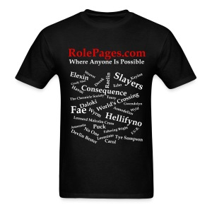 Men's Standard Weight T-Shirt - Character Names White Lettering - Men's T-Shirt