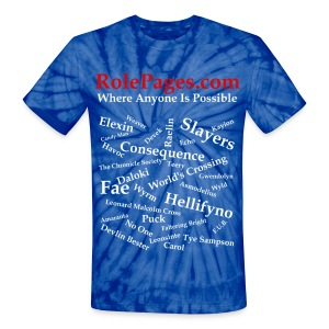 Unisex Tie Dye T-Shirt - Character Names White Lettering - Unisex Tie Dye T-Shirt