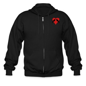 Love Birds Cook.Vegan.Lover. Men's Hooded Zip-Up  - Men's Zip Hoodie