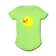 Baby Bodysuits ~ Baby Short Sleeve One Piece ~ duckie - green
