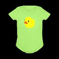 Baby Bodysuits ~ Baby Short Sleeve One Piece ~ duckie - green