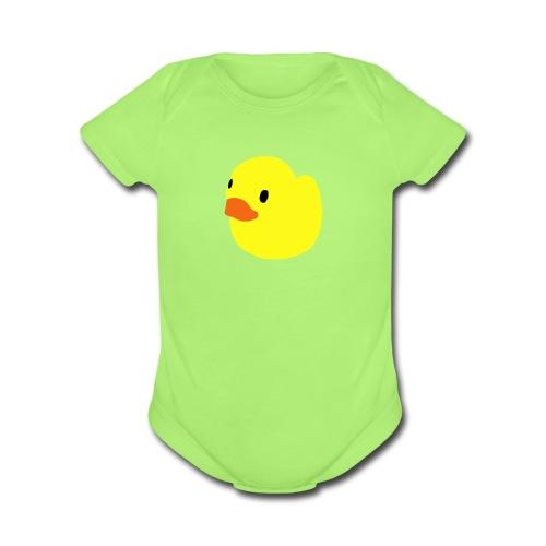 duckie - green - Organic Short Sleeve Baby Bodysuit