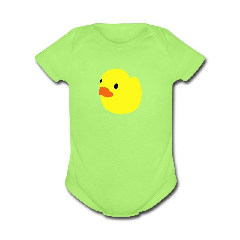 duckie - green - Short Sleeve Baby Bodysuit
