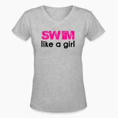 Gray swim like a girl Women's T-Shirts