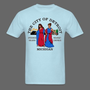 Detroit Flag Men's Standard Weight T-shirt - Men's T-Shirt