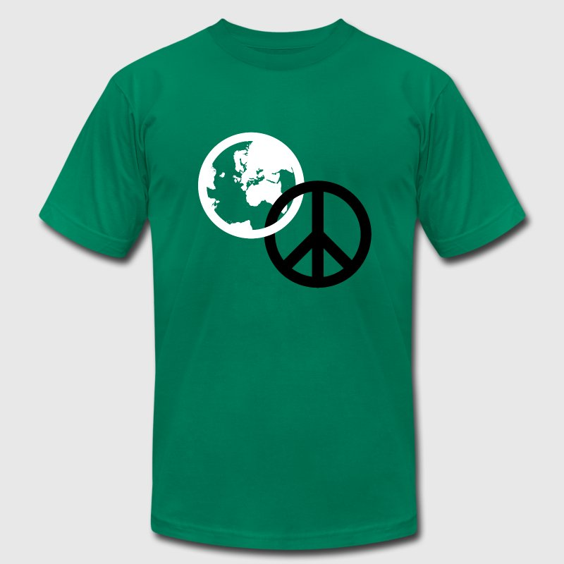 Kelly green world peace T-Shirts - Men's T-Shirt by American Apparel