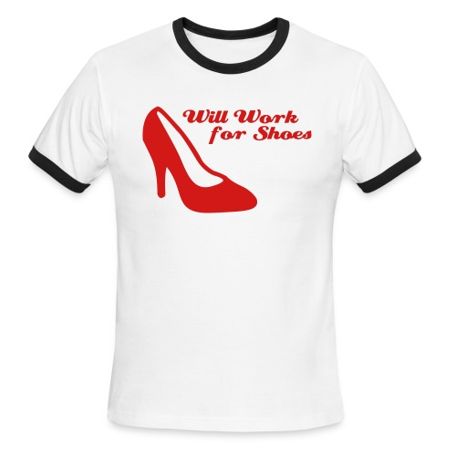 Will work for shoes v2 - Men's Ringer T-Shirt