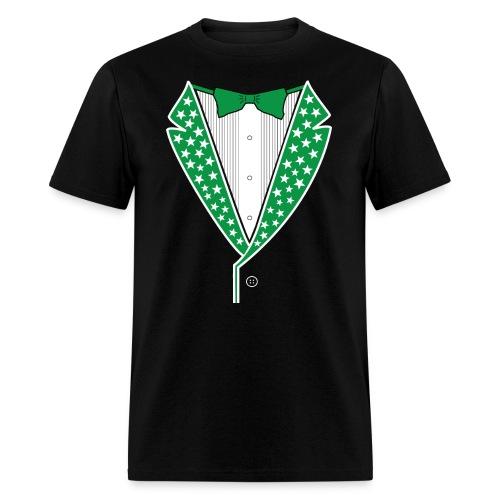 Star Tuxedo Green on Black - Men's T-Shirt