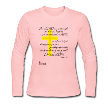 Light pink Psalms 28:7 Long Sleeve Shirts