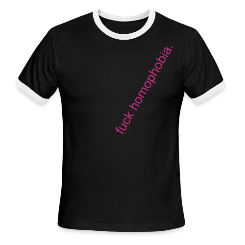 ON SALE!  american apparel fuck homophobia ringer PINK text - Men's Ringer T-Shirt