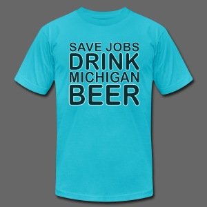 Save Jobs, Drink Michigan Beer Men's American Apparel Tee - Men's Fine Jersey T-Shirt