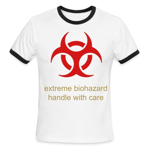 biohazard shirt (front and sides) - Men's Ringer T-Shirt
