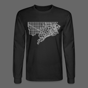 Detroit Street Map Men's Long Sleeve Tee - Men's Long Sleeve T-Shirt