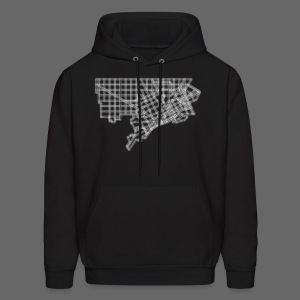 Detroit Street Map Men's Hooded Sweatshirt - Men's Hoodie