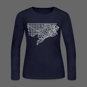 Detroit Street Map Women's Long Sleeve Jersey Tee - Women's Long Sleeve Jersey T-Shirt