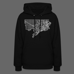 Detroit Street Map Women's Hooded Sweatshirt - Women's Hoodie