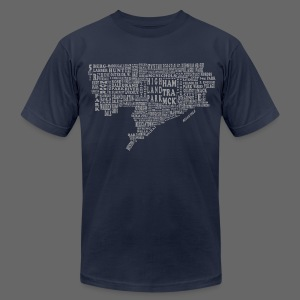 Silver Detroit Map Men's American Apparel Tee - Men's T-Shirt by American Apparel