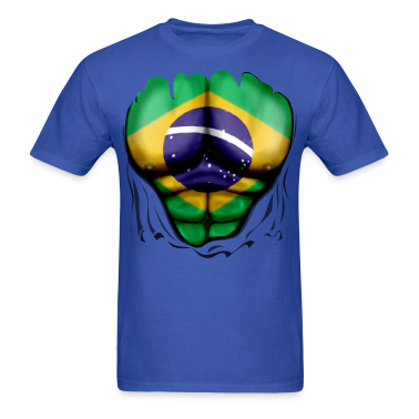 Brazil Flag Ripped Muscles, six pack, chest t-shirt