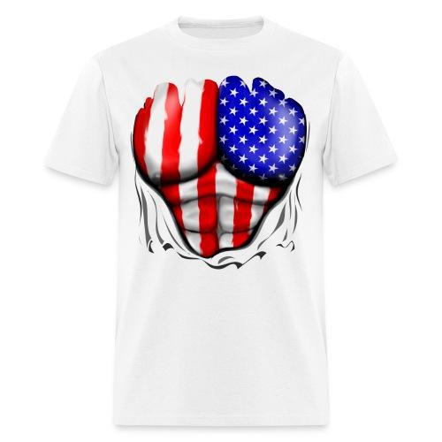 USA Flag Ripped Muscles, six pack, chest t-shirt - Men's T-Shirt