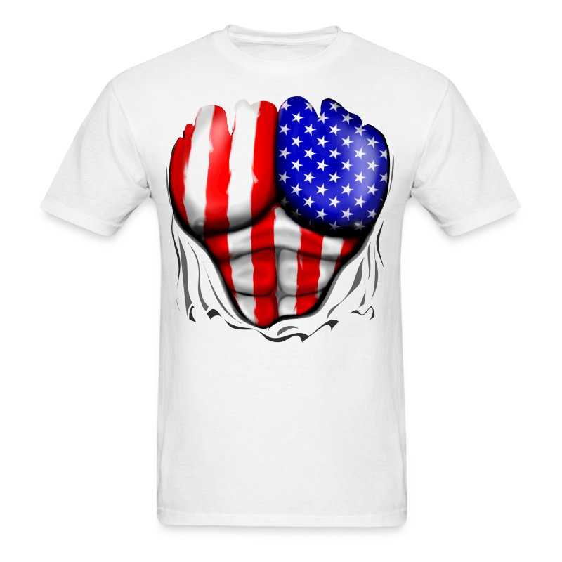 Usa flag ripped muscles six pack chest t shirt t shirt for T shirt printing usa