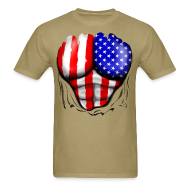 T-Shirts ~ Men's T-Shirt ~ USA Flag Ripped Muscles, six pack, chest t-shirt