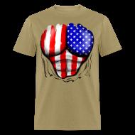 T-Shirts ~ Men's T-Shirt ~ USA Flag Ripped Muscles, six pack, chest t-shirt