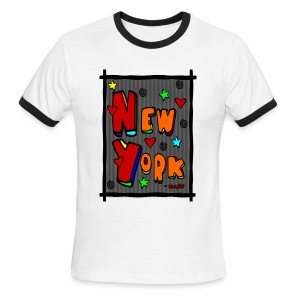 WUBT 'Funky new York In A Frame--DIGITAL DIRECT' Men's Ringer Tee, Red And White - Men's Ringer T-Shirt