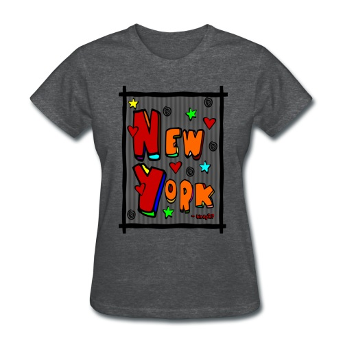 WUBT 'Funky new York In A Frame--DIGITAL DIRECT' Women's Standard Tee, Deep Heather - Women's T-Shirt