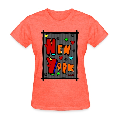 WUBT 'Funky new York In A Frame--DIGITAL DIRECT' Women's Standard Tee, Deep Heather - Women's T-Shirt