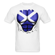 T-Shirts ~ Men's T-Shirt ~ Scotland Flag Ripped Muscles, six pack, chest t-shirt
