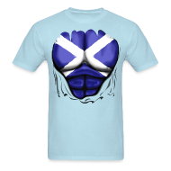 T-Shirts ~ Men's T-Shirt ~ Scotland Flag Ripped Muscles, six pack, chest t-shirt