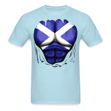 Scotland Flag Ripped Muscles, six pack, chest t-shirt