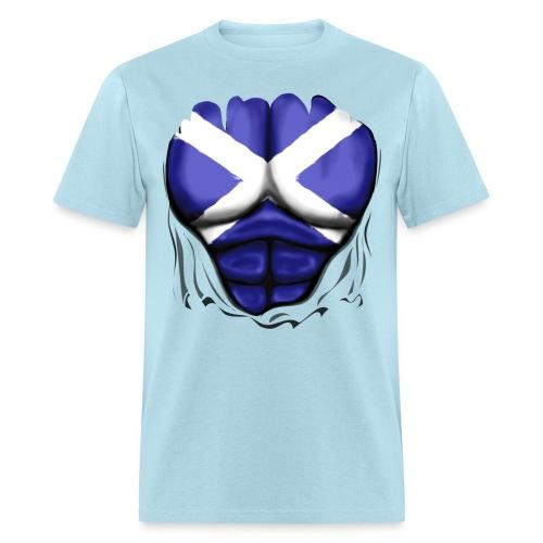 Scotland Flag Ripped Muscles, six pack, chest t-shirt - Men's T-Shirt