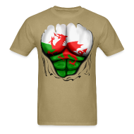 T-Shirts ~ Men's T-Shirt ~ Wales Flag Ripped Muscles, six pack, chest t-shirt