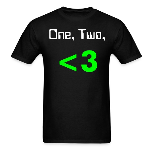 Mens One, Two, Less-than-Three  (green) - Men's T-Shirt