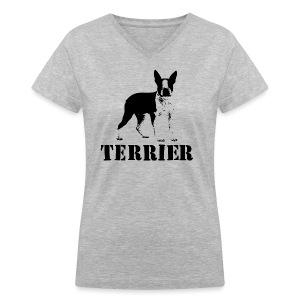 Boston Terrier Women's V-Nevk T-Shirt - Women's V-Neck T-Shirt
