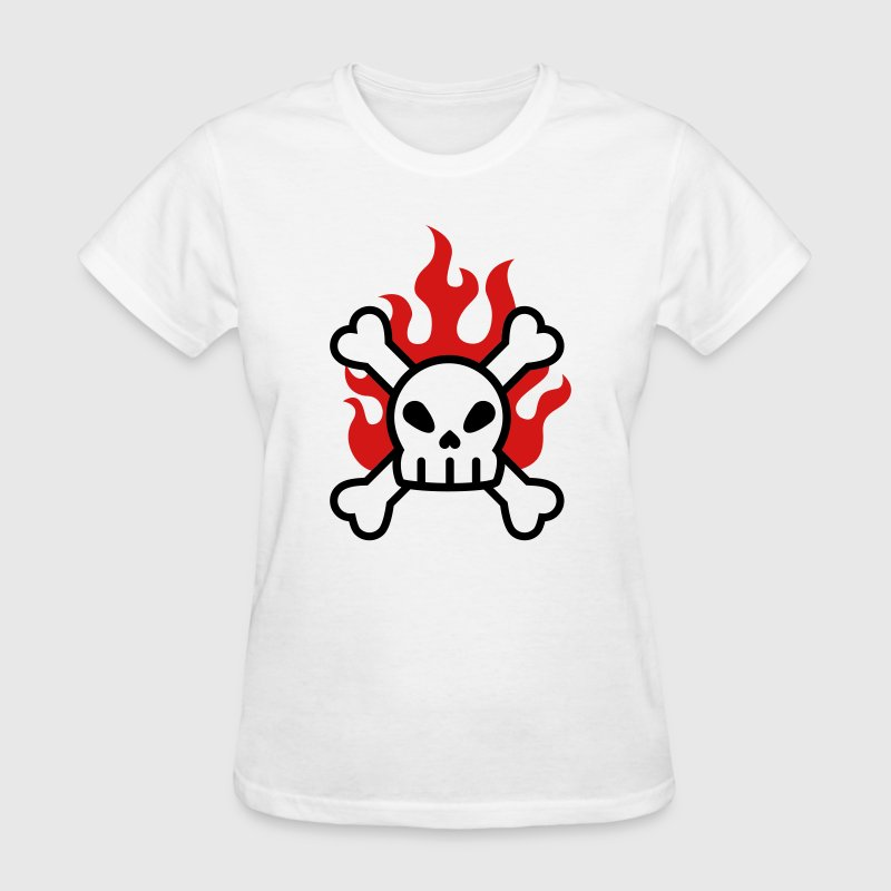 Flaming Skull & crossbones - Women's T-Shirt