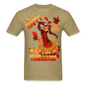 Thanksgiving Turkey and Autumn Leaves - Men's T-Shirt