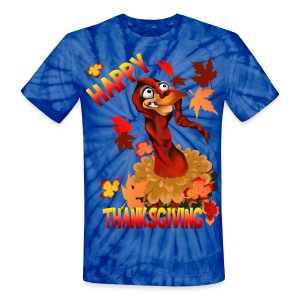 Thanksgiving Turkey and Autumn Leaves - Unisex Tie Dye T-Shirt