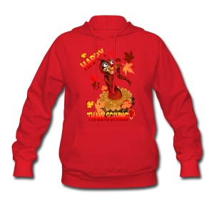 Thanksgiving Turkey and Autumn Leaves - Women's Hoodie