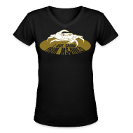 Women's T-Shirts ~ Women's V-Neck T-Shirt ~ Msjinkzd: Women's Flex Print V Neck T