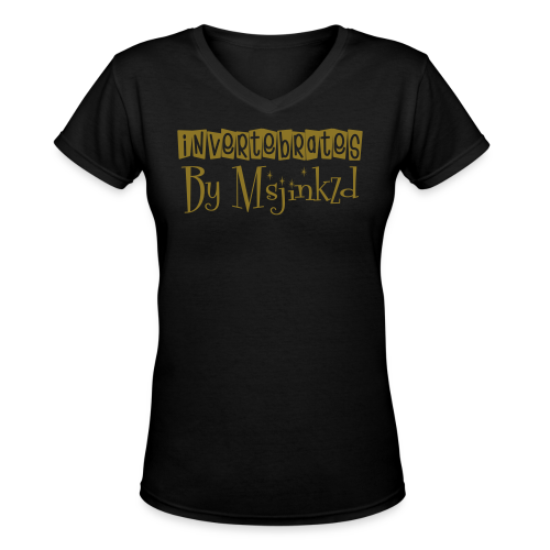 Msjinkzd Women's Flex Print V neck T - Women's V-Neck T-Shirt