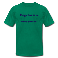 T-Shirts ~ Men's T-Shirt by American Apparel ~ Vegetarian (except for bacon)