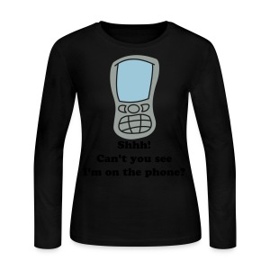 cell phone - blk txt - ladies - Women's Long Sleeve Jersey T-Shirt