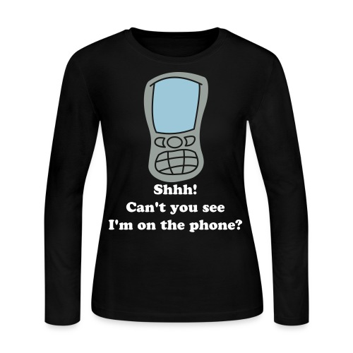 cell phone - wht txt - ladies - Women's Long Sleeve Jersey T-Shirt