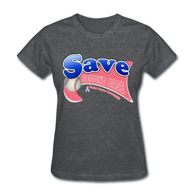 Deep heather Save Second Base Breast Cancer Awareness Ribbon Women's T-Shirts