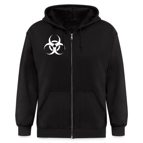 Men's Zip Hoodie - toxic,help,hazardous,good cause,boom