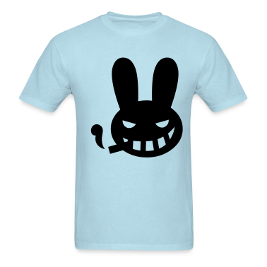 Sky blue halloween smoking rabbit T-Shirts