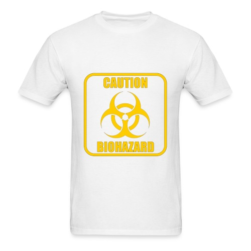 Caution Biohazard White T-Shirt - Men's T-Shirt