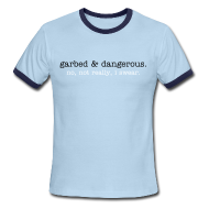 T-Shirts ~ Men's Ringer T-Shirt ~ not garbed & dangerous -- men's ringer tee in blue
